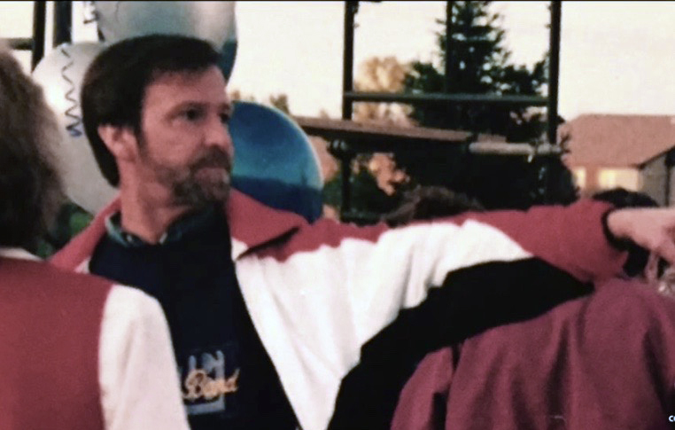 Denny Elff in 1996 at the unveiling of the new Carmel Band equipment trailer.