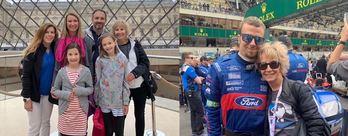 Patt Elff with her family (left), and with son at a race in France (right).