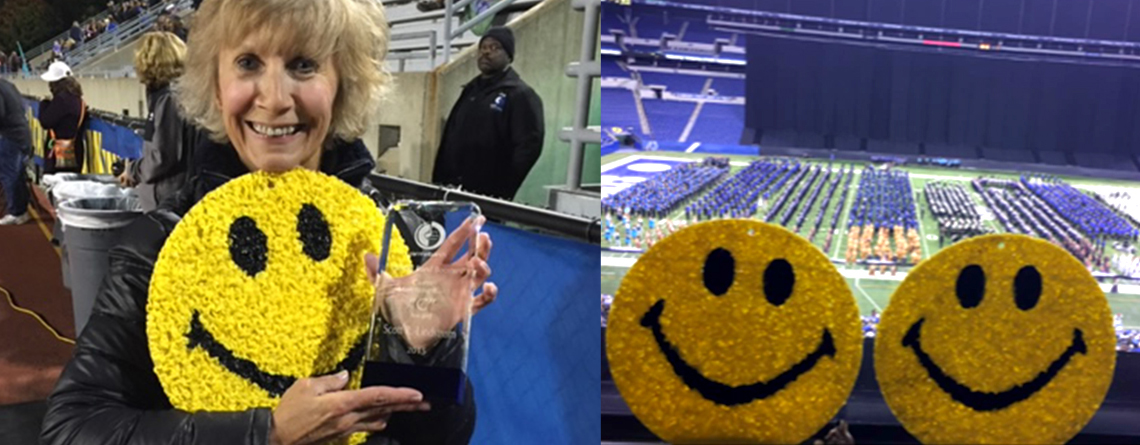 Patt passes out an award (left), Smileys at ISSMA (right).