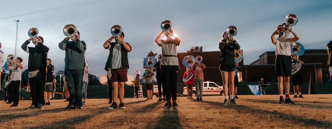 Ensemble rehearsal for the Easley HS Marching Band