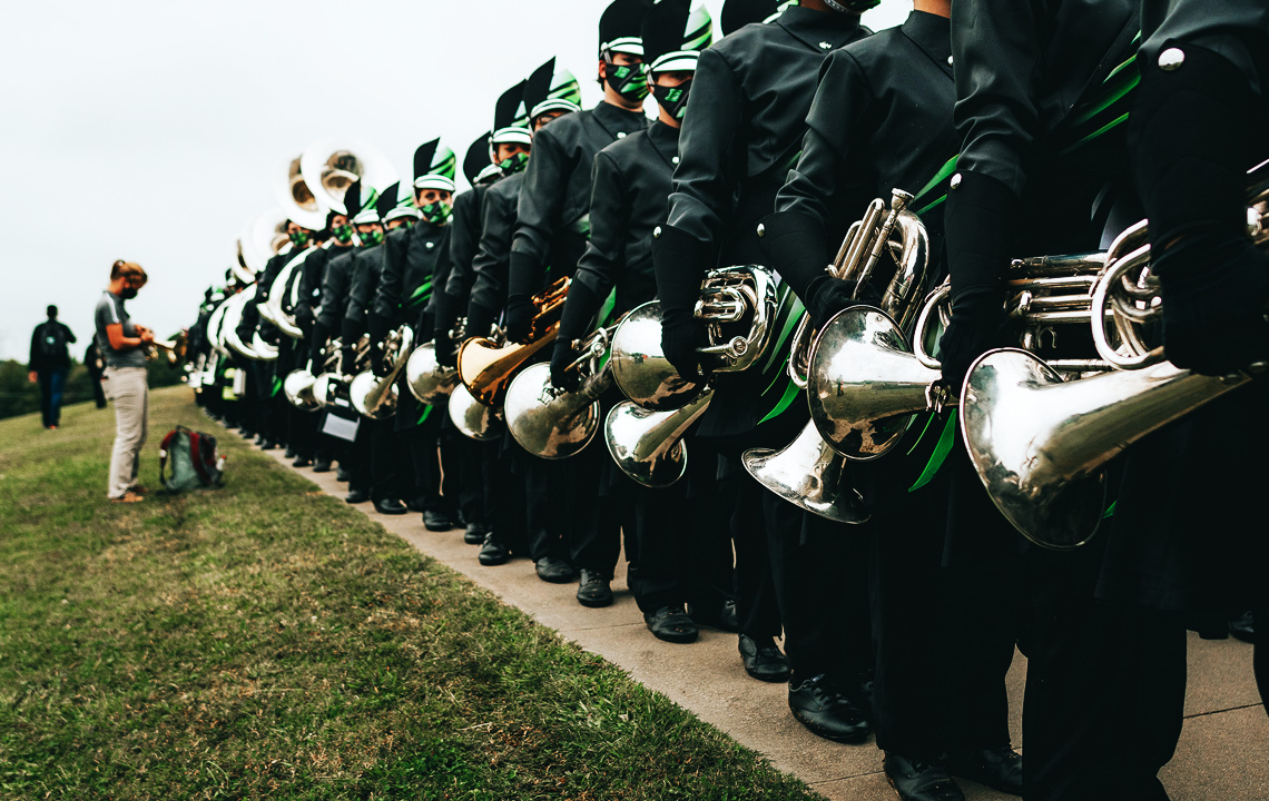Lined up and ready, the Easley winds wait to take the field for a performance
