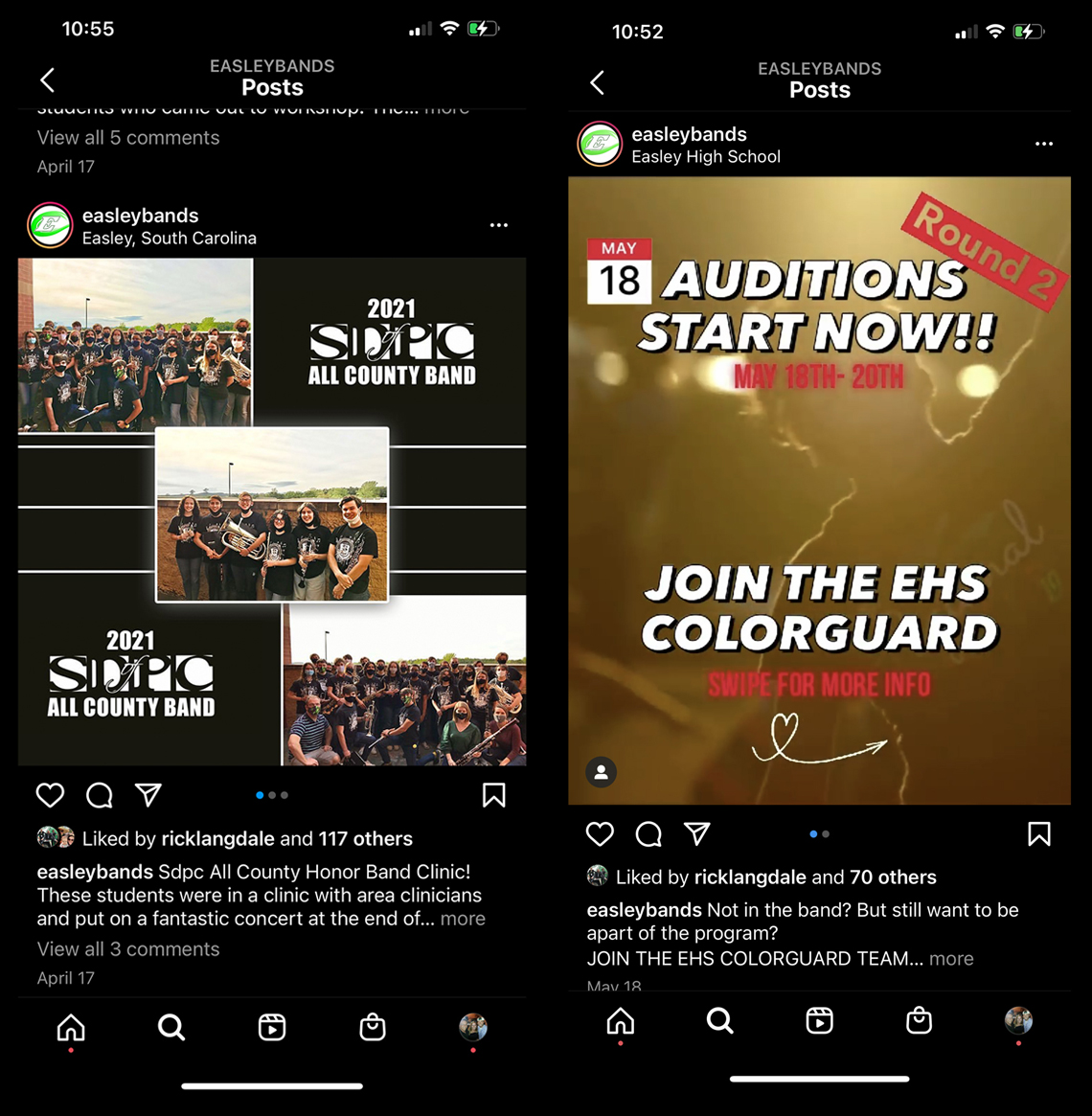 Easley Bands Instagram post promoting students in the All County Band (left), Instagram post promoting color guard auditions (right)