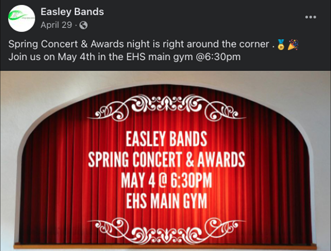 Facebook announcement for the Spring Concert and Awards