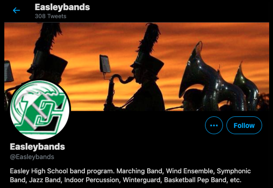 Twitter profile for Easley Bands
