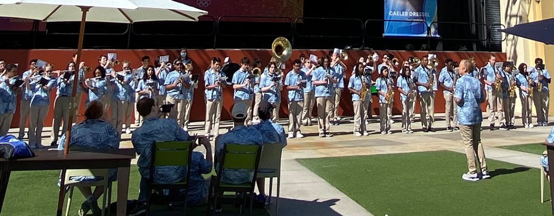 The Cathedral HS (IN) Band performs at Universal Studios