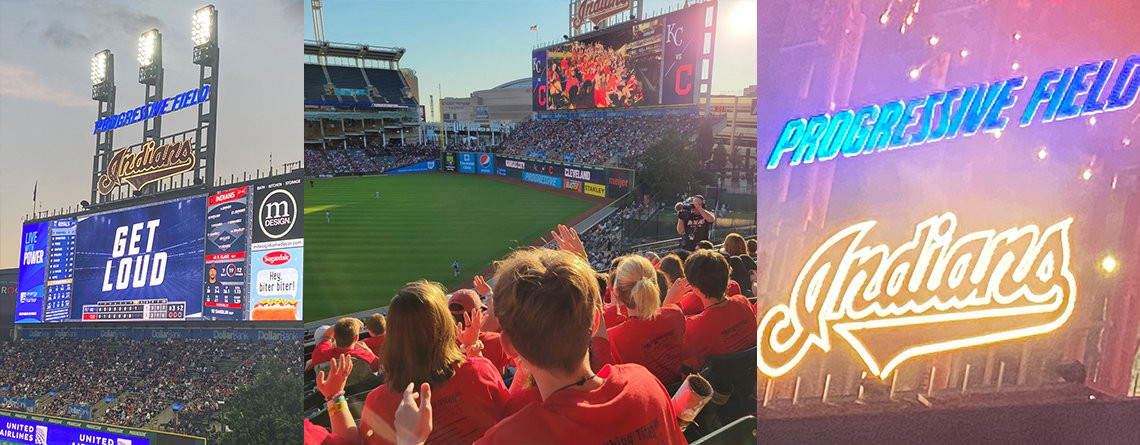 The Marching Titans enjoy a night of Cleveland Indians baseball